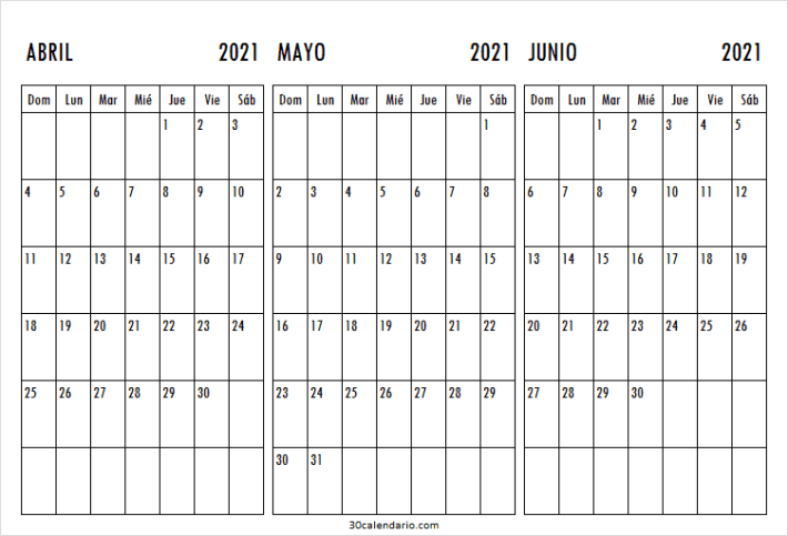 Calendario Abril a Junio 2021 Chile