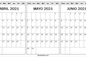 Calendario Abril a Junio 2021 Infantil