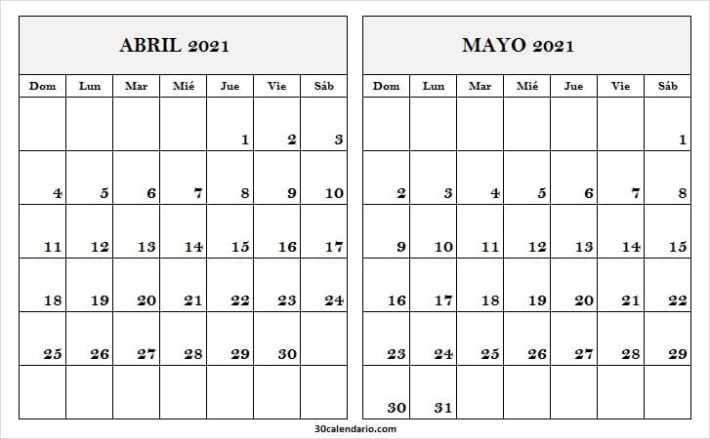 Calendario Blanco Abril Mayo 2021