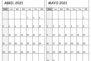 Calendario De Abril Mayo 2021 Para Imprimir