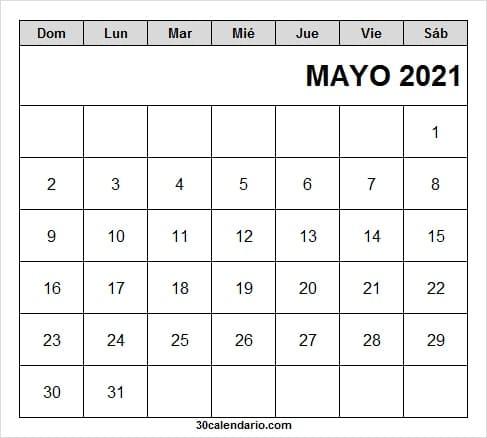 Calendario De Mayo 2021