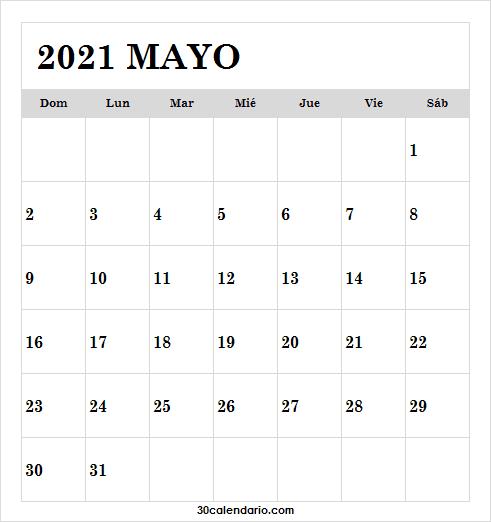 Calendario De Mayo De 2021