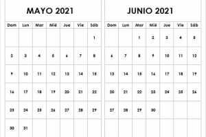 Calendario De Mayo Junio De 2021 Chile