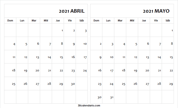 Calendario En Blanco Abril Mayo 2021 Word