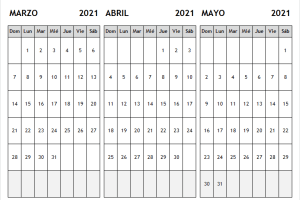 Calendario En Blanco Marzo a Mayo 2021 Word