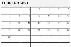 Calendario Febrero 2021 Blanco