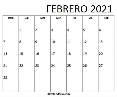 Calendario Febrero 2021 Ingles
