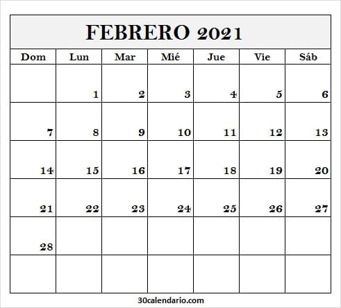 Calendario Febrero 2021 Para Editar