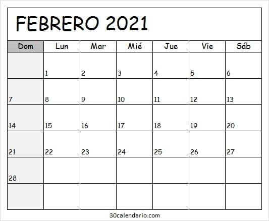Calendario Febrero 2021 Para Imprimir