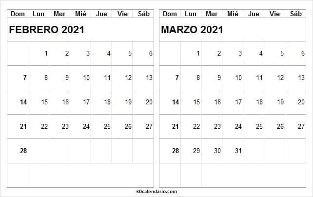 Calendario Febrero Marzo 2021 Editable