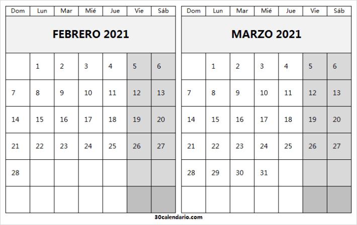 Calendario Febrero Marzo 2021 En Excel