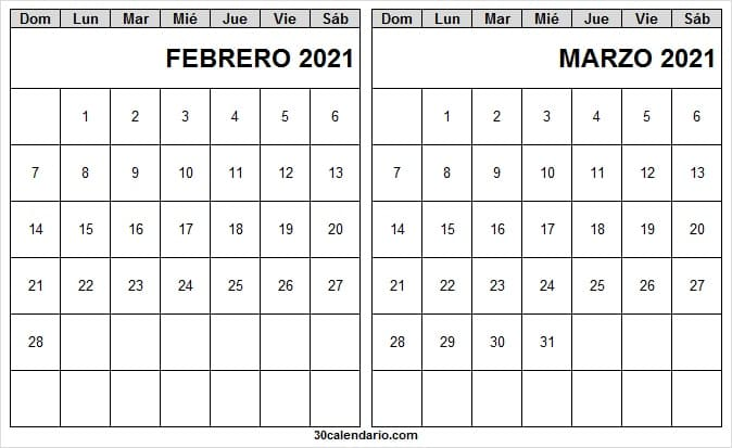 Calendario Febrero Marzo 2021 En Ingles
