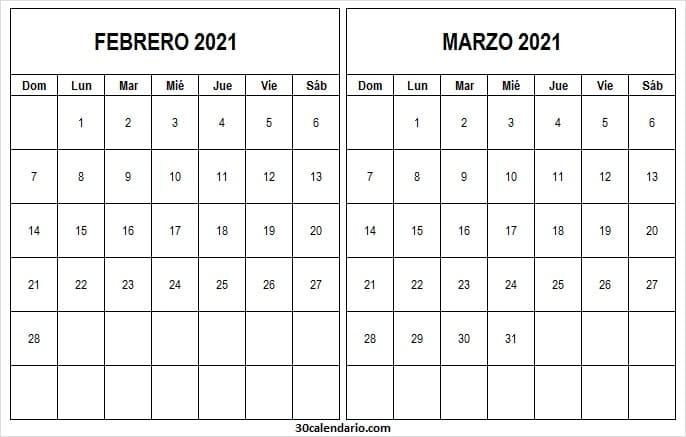 Calendario Febrero Marzo 2021 Excel