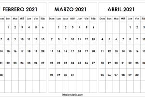 Calendario Febrero a Abril 2021 En Español
