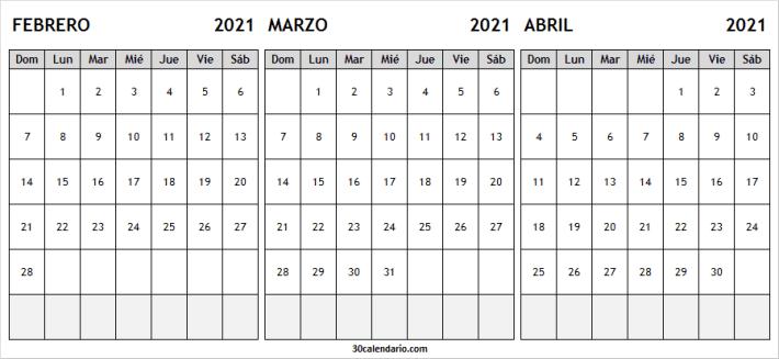 Calendario Febrero a Abril 2021 Mensual
