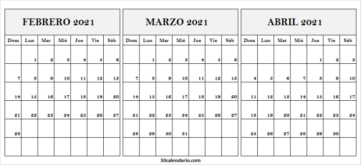 Calendario Febrero a Abril 2021 Para Imprimir