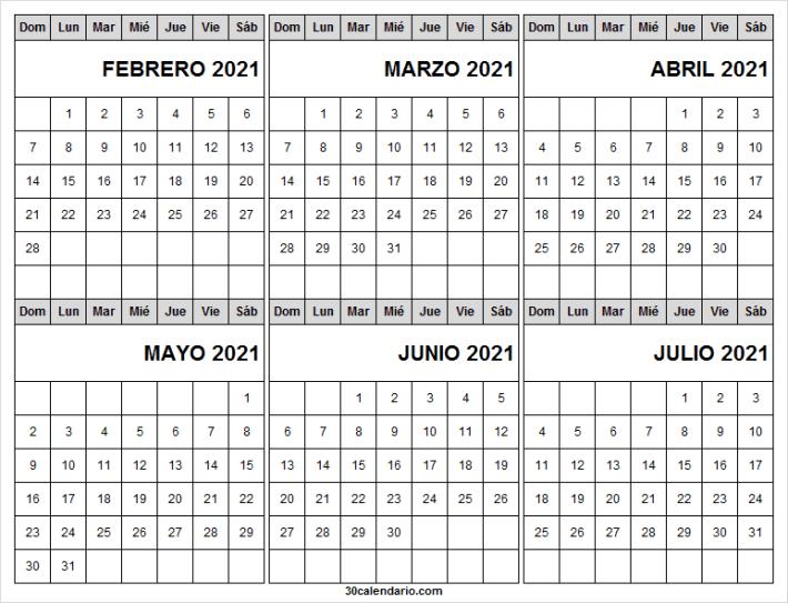 Calendario Febrero a Julio 2021 En Chile