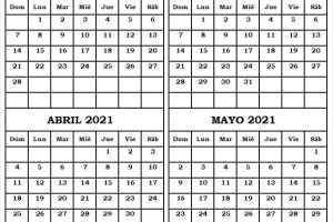 Calendario Febrero a Mayo 2021 En Ingles