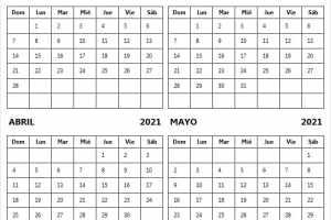 Calendario Febrero a Mayo 2021 En Word