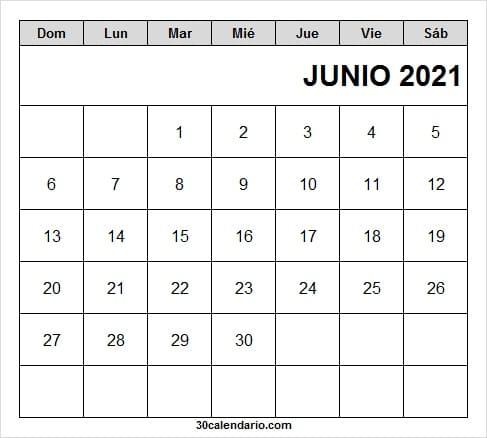 Calendario Junio 2021 Mensual