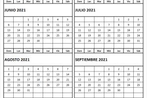 Calendario Junio A Septiembre 2021 Colombia