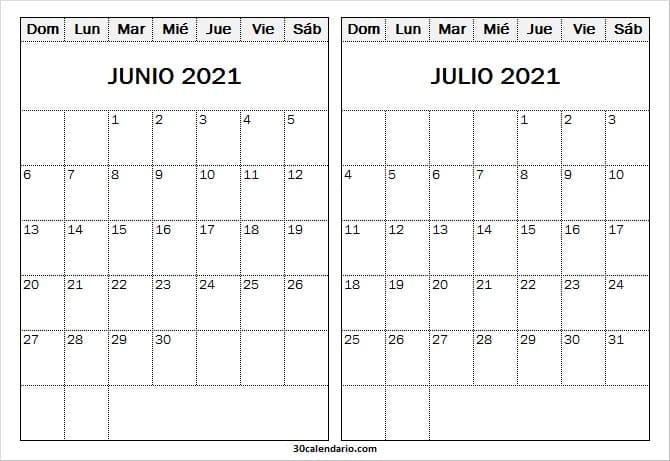 Calendario Junio Julio 2021 Editable