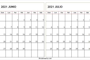 Calendario Junio Julio 2021 En Español