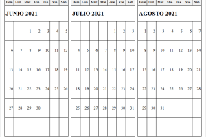 Calendario Junio a Agosto 2021 En Colombia