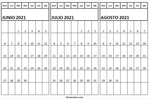 Calendario Junio a Agosto 2021 Infantil
