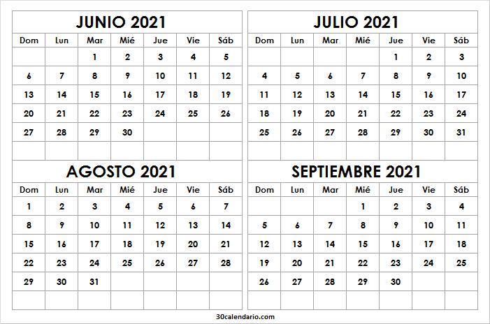 Calendario Junio a Septiembre 2021 En Chile