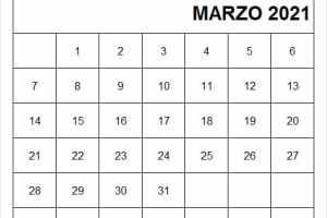 Calendario Marzo 2021 Para Imprimir
