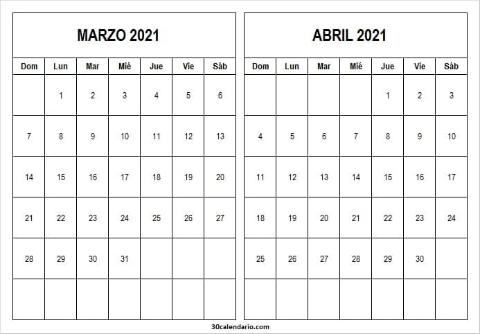 Calendario Marzo Abril 2021 Editable
