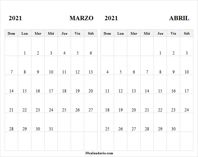 Calendario Marzo Abril 2021 En Chile