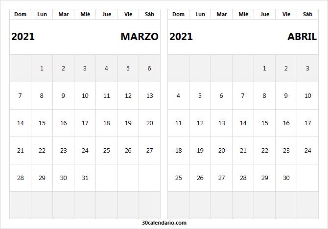 Calendario Marzo Abril 2021 Ingles