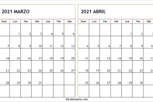 Calendario Marzo Abril 2021 Para Imprimir Pdf