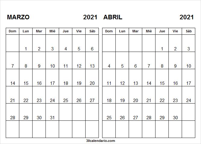 Calendario Marzo Abril 2021 Pinterest