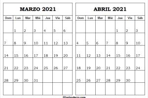 Calendario Marzo Abril Del 2021