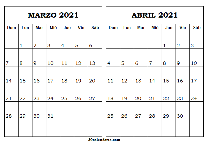 Calendario Marzo Abril Del 2021