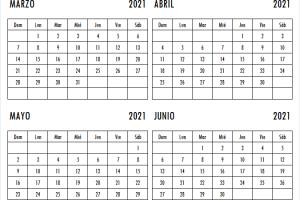 Calendario Marzo a Junio 2021 Bonito