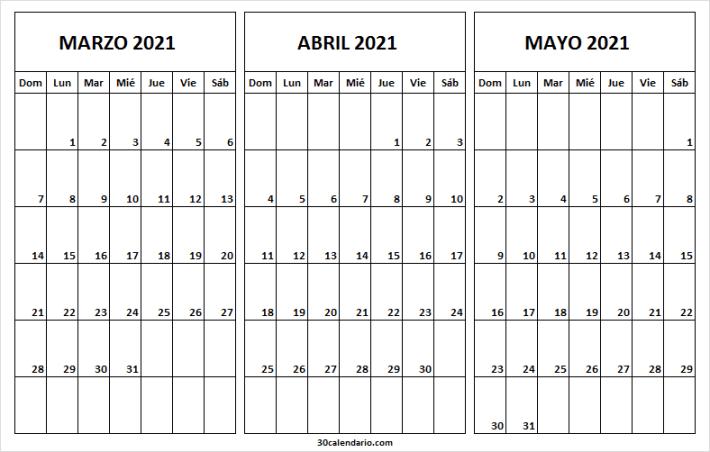 Calendario Marzo a Mayo 2021 En Colombia