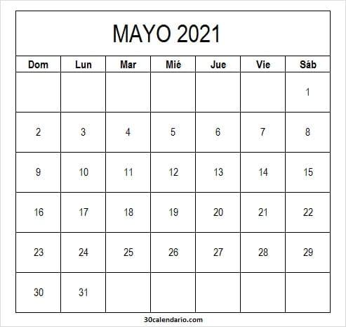 Calendario Mayo 2021 En Colombia