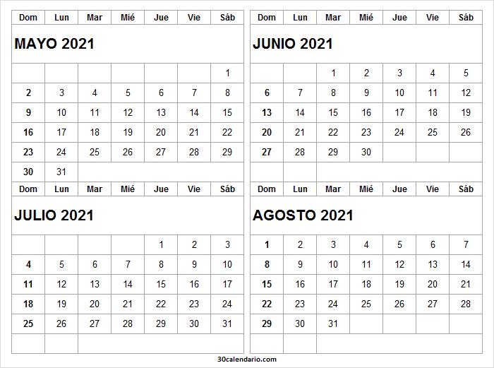 Calendario Mayo a Agosto 2021 En Chile