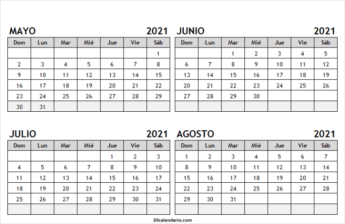 Calendario Mayo a Agosto 2021 En Colombia