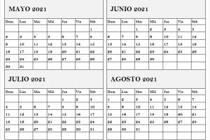 Calendario Mayo a Agosto 2021 En Ingles