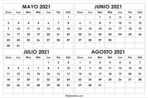 Calendario Mayo a Agosto 2021 En Word