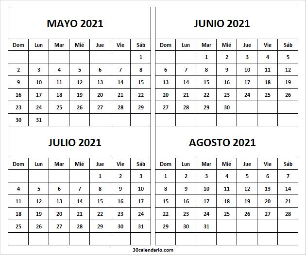 Calendario Mayo a Agosto 2021 Pdf