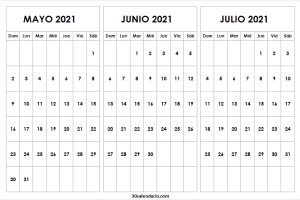 Calendario Mayo a Julio 2021 En Colombia