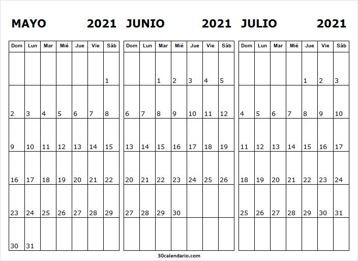 Calendario Mayo a Julio 2021 En Excel