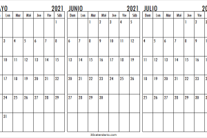 Calendario Mayo a Julio 2021 En Ingles