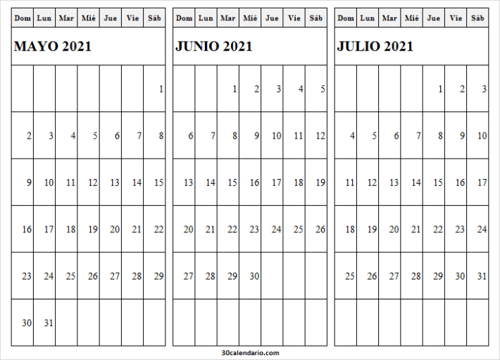 Calendario Mayo a Julio 2021 Ingles